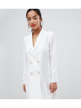 ASOS DESIGN Petite mini tux dress with pearl buttons - White