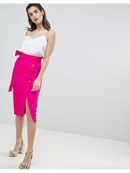 River Island Button Deatil Wrap Front Midi Skirt - Pink
