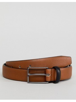 ASOS Smart Slim Belt In Tan Faux Leather And Black Contrast Keeper - Tan