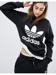 adidas Originals Black Trefoil Boyfriend Sweatshirt - Black