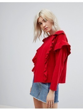 Bershka Frill Front Sweater - Red