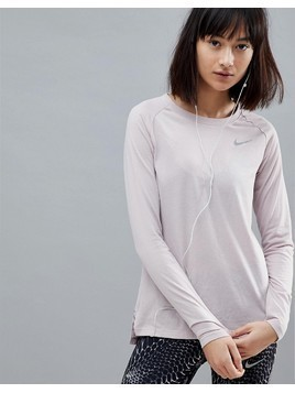 Nike Running Breathe Tailwind Long Sleeve Top In Rose - Pink