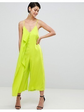 ASOS DESIGN Minimal Jumpsuit With Drape Front - Green