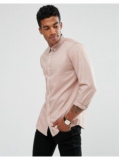 Pull&Bear Regular Fit Twill Shirt In Dusty Pink - Pink