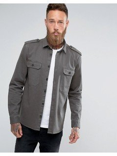 ASOS Military Overshirt In Khaki - Green