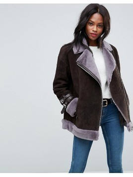 ASOS Suede Aviator with Faux Shearling - Brown