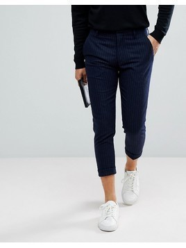 Selected Homme Smart Cropped Trousers In Navy Pinstripe - Navy