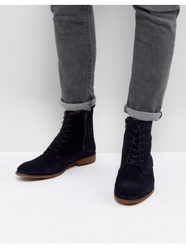Zign Suede Lace Up Boots In Navy - Navy