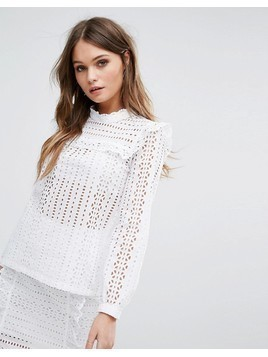 River Island Frill Detail Lace Blouse - White