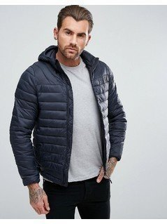 Pull&Bear Quilted Jacket With Hood In Navy - Blue