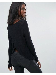 Vero Moda Loose Knit Open Back Top - Black