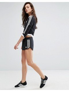adidas Originals Black Three Stripe Shorts - Black