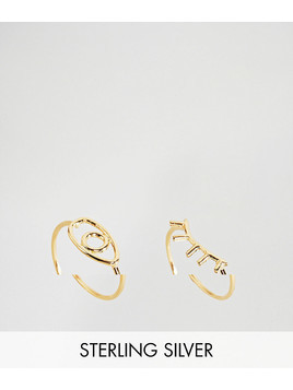 ASOS Gold Plated Sterling Silver Pack of 2 Eye and Eyelash Rings - Gold