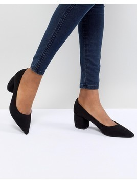 Bershka Pointed Block Heel Shoe - Black