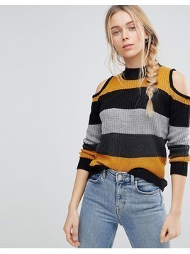 QED London Jumper With Cold Shoulder Detail - Yellow