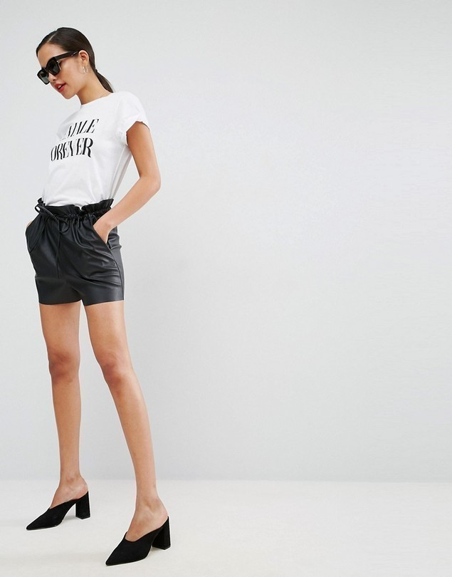 ASOS Leather Look Shorts with Paper Bag Waist - Black