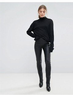 Weekday Press Collection Leather Trouser - Black
