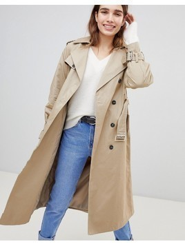 New Look Oversized Mac Trench Coat - Stone
