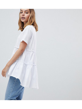 ASOS PETITE T-Shirt With Tiered Smock Hem - White