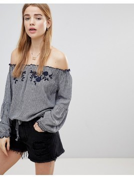 Hollister Off the Shoulder Gingham Top - Multi