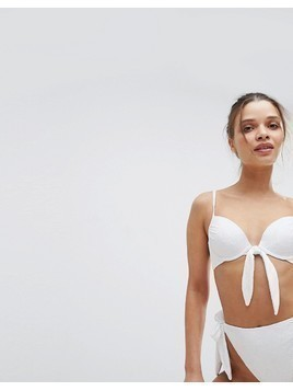 ASOS Mix and Match Crochet Plunge Bikini Top with Bunny Ties - White