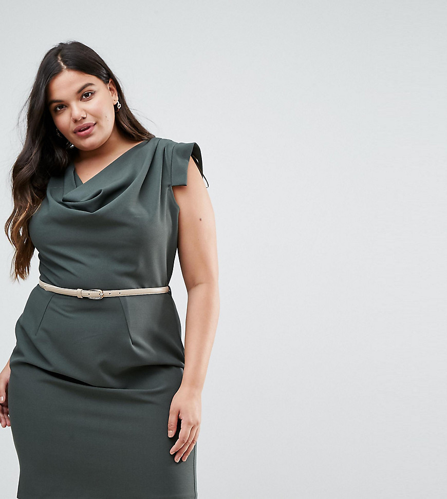 Closet London Plus Cowl Front Pencil Dress - Green