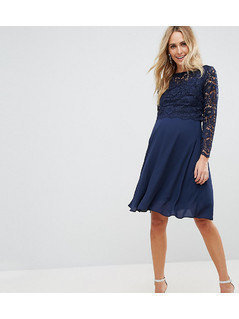 Queen Bee Maternity Lace Overlay Midi Dress - Navy