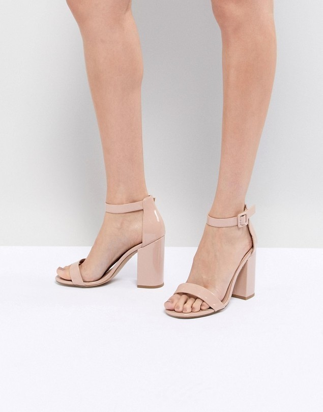 New Look Barely There Patent Block Heel Sandal - Beige