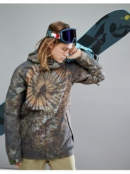 Burton Snowboards Hilltop Ski Jacket Hooded Insulated in Tie Dye Print - Multi