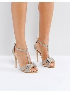 True Decadence Gold Glitter Bow Heeled Sandals - Gold