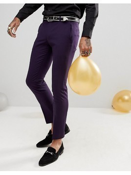 Noose&Monkey Super Skinny Wool Mix Suit Trousers In Purple - Purple