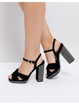 Truffle Collection Soft Knot Front Pinstud Platform Sandals - Black