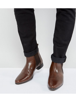 ASOS Wide Fit Chelsea Boots in Brown Leather - Brown