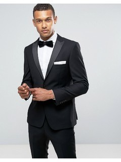 Burton Menswear Slim Tuxedo Jacket in Black Texture - Black