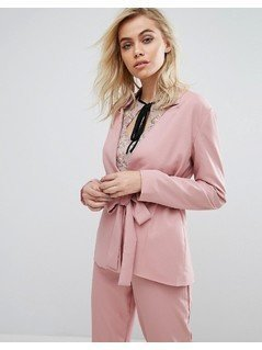 Fashion Union Blazer With Tie Front Co-Ord - Pink