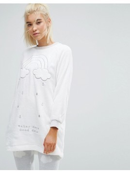 Oysho Fluffy Cloud Pyjama Top - Grey