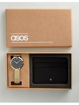 ASOS Premium Leather Card Holder and Mesh Watch Gift Set - Gold
