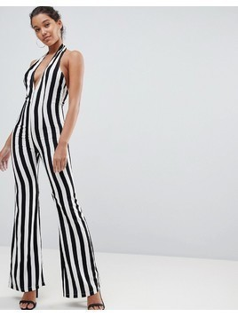 PrettyLittleThing Striped Plunge Jumpsuit - Multi