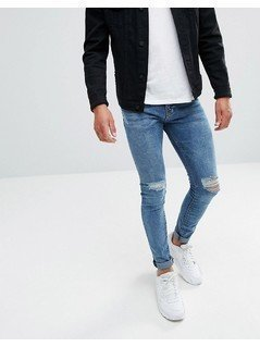 Pull&Bear Super Skinny Jeans In Blue Wash - Blue
