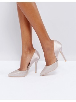 Glamorous Champagne Heeled Court Shoes - Cream