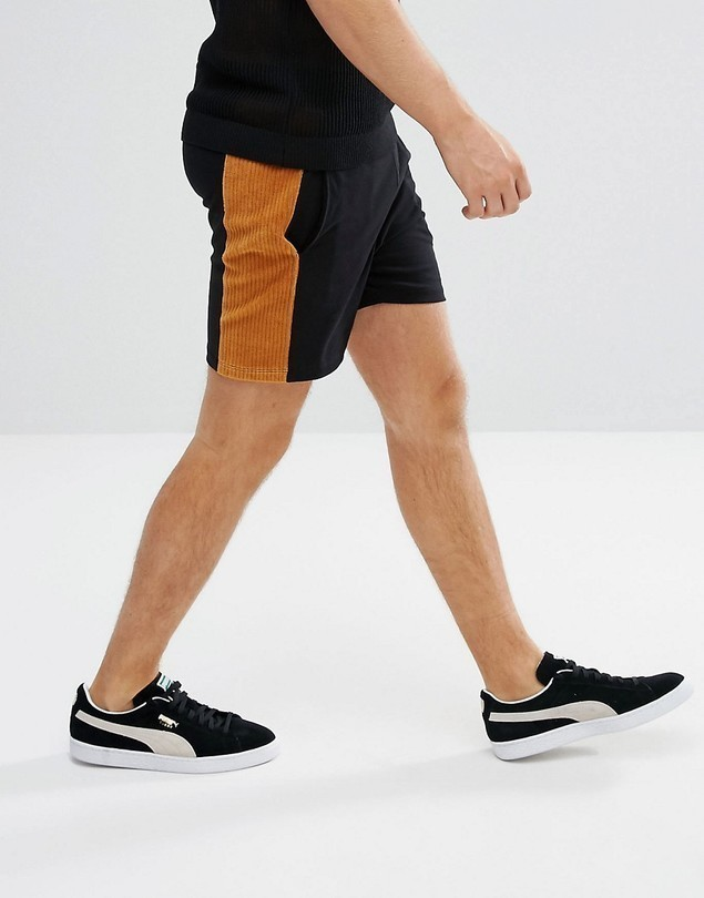 ASOS Lightweight Jersey Shorts With Velour Cord Panels - Black