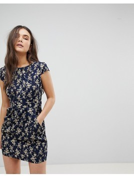 QED London Floral Tulip Dress - Navy