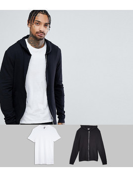 ASOS Muscle Hoodie & Muscle Crew Neck Tshirt 2 Pack Black/White SAVE - Multi