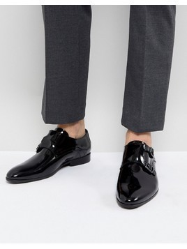 Zign Patent Monk Shoes In Black - Black