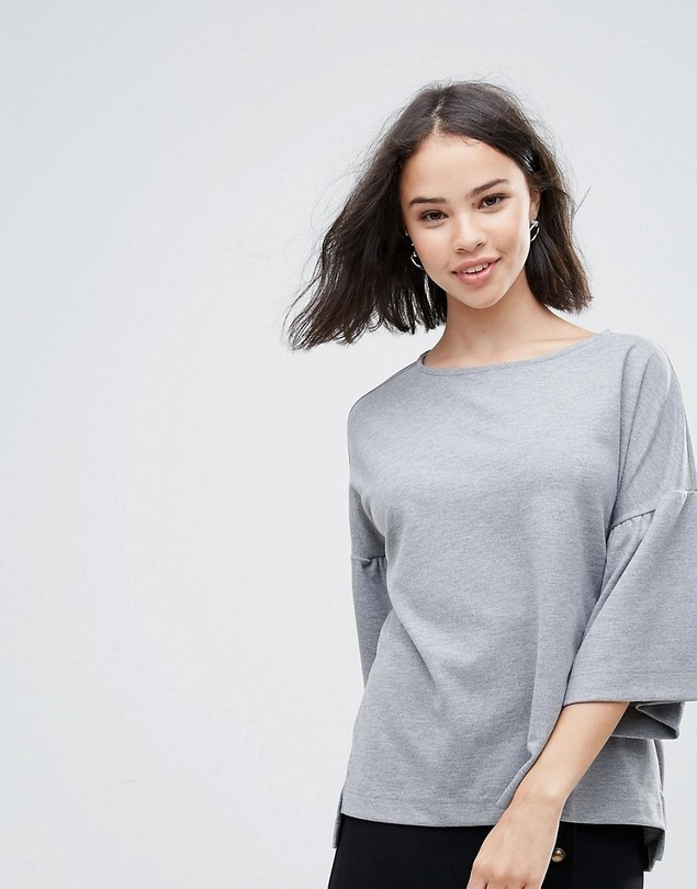 Soaked In Luxury Jumper With Fluted Sleeve - Grey