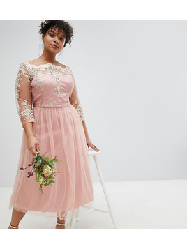 Chi Chi London Plus Premium Lace Midi Prom Dress with 3/4 Sleeve AND Tulle Skirt - Pink