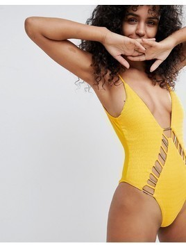 River Island Shirred Metal Detail Swimsuit - Yellow