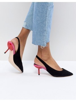 Faith Contrast Kitten Heels - Black