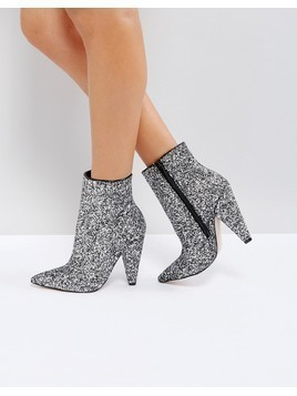 ASOS EILEEN Heeled Ankle Boots - Silver