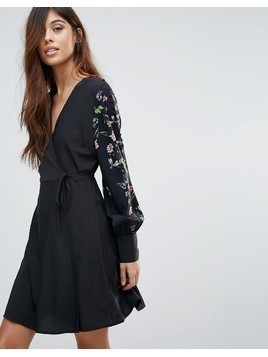 Vero Moda Embroidered Sleeve Wrap Dress - Multi